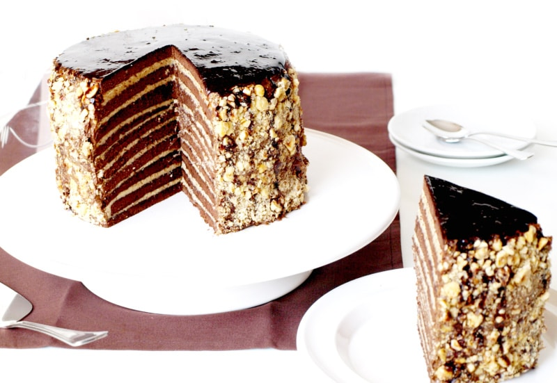 Tarta de chocolate y praliné
