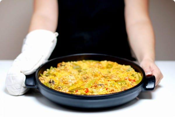 Paella Valencia con pollo, hecha en la Thermomix